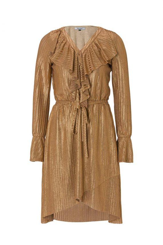 Bakır Gold Fırfır detaylı Anvelop Elbise1