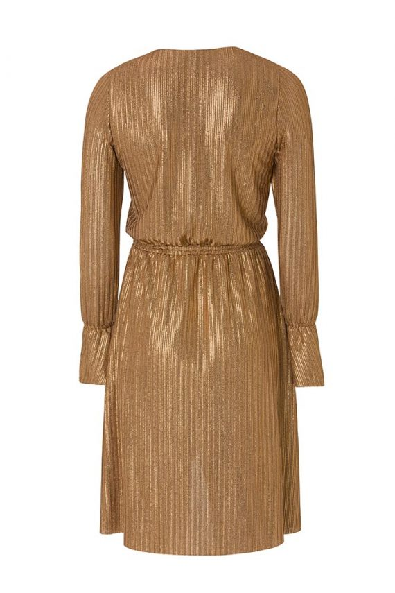 Bakır Gold Fırfır detaylı Anvelop Elbise2