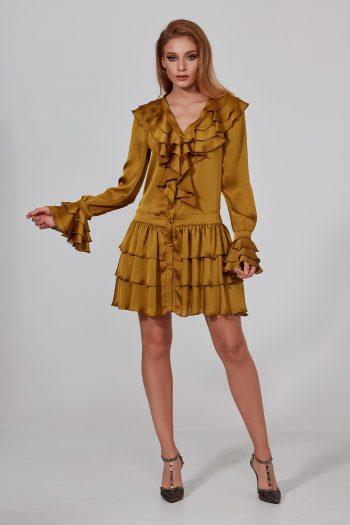 sarı fırfır elbise